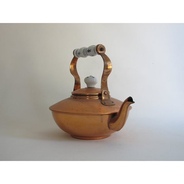 Image of French Copper & Ceramic Teapot