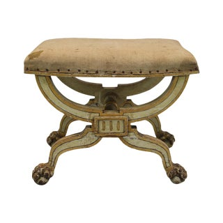 French Painted & Gilt Wood Stool
