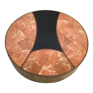 Round Brass & Tessellated Stone Box