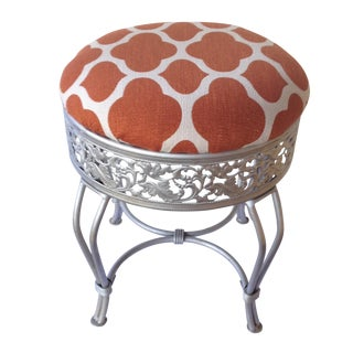 Pumpkin and Industrial Gray Vanity Stool