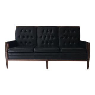 Mid-Century Tufted Black Vinyl Sofa