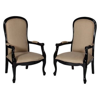 Antique English Ebonized Chairs - A Pair