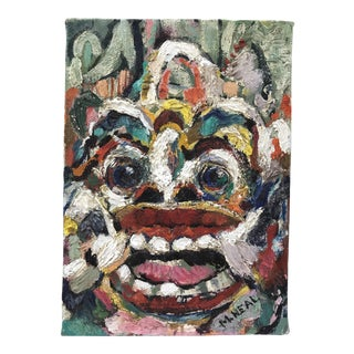 Vintage Balinese Mask Portrait Painting