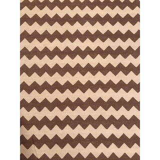 Madeline Weinrib Brown and White Chevron Area Rug