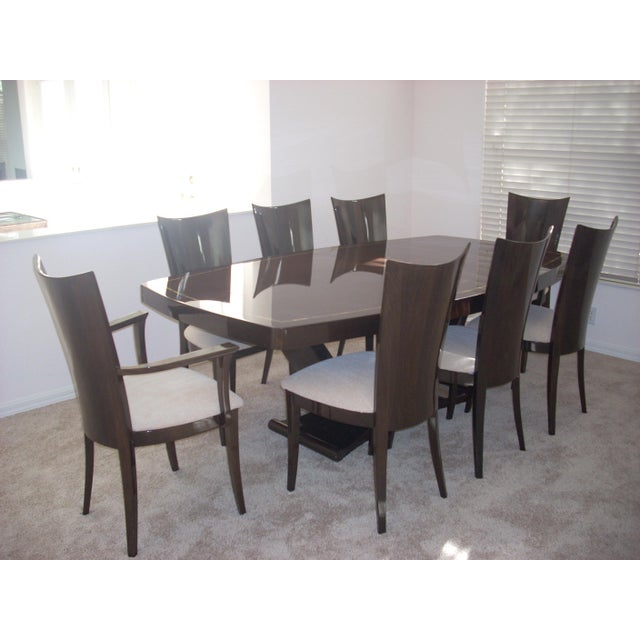 High Dining Room Table: Walnut High Gloss Dining Room Table & Chairs