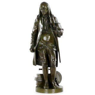 Benjamin Franklin Bronze Sculpture by Jean-Jules Salmson