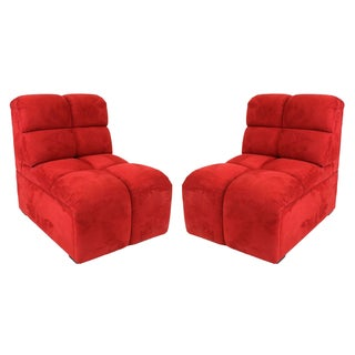 Brazilian Modern Red Suede Slipper Chairs - A Pair
