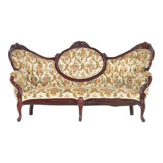 Victorian Floral Mahogany Sofa