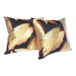 Vintage Butterfly Obi Pillows- A Pair