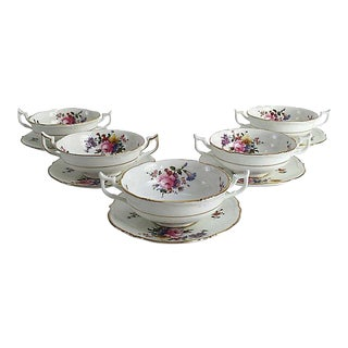 English Porcelain Cauldon Soup Bowl Set - Set of 10