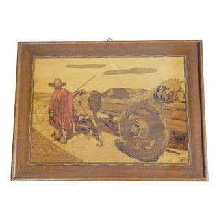 Vintage Arts & Crafts Inlaid Wood Picture