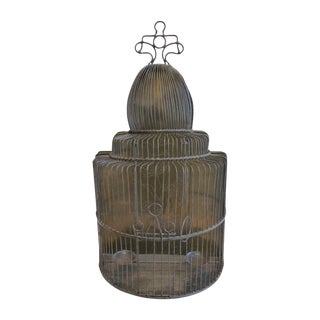 Large European Style Brass Bird Cage - Tabletop or Hangs Flat