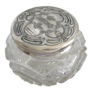 Crystal Embossed Silver Plated Lid Vanity Jar