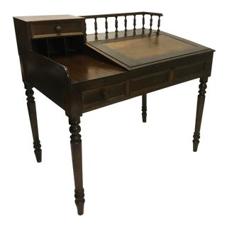Exceptional European Antique Carved Walnut Bankers Writing Secretary Desk