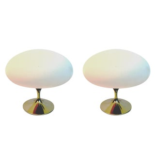 Pair of Brass Base 1970s Mushroom Laurel Lamps with Blown Italian Glass Shades