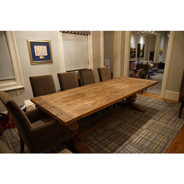 Restoration Hardware Salvaged Wood Trestle Table   Image 11 of 11. Restoration Hardware Salvaged Wood Trestle Table   Chairish