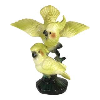 Vintage Mid Century Citron Cockatiel Statue
