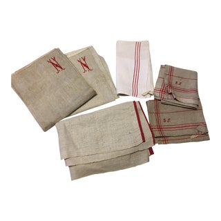 German & French Antique Linen Towels - Set of 6