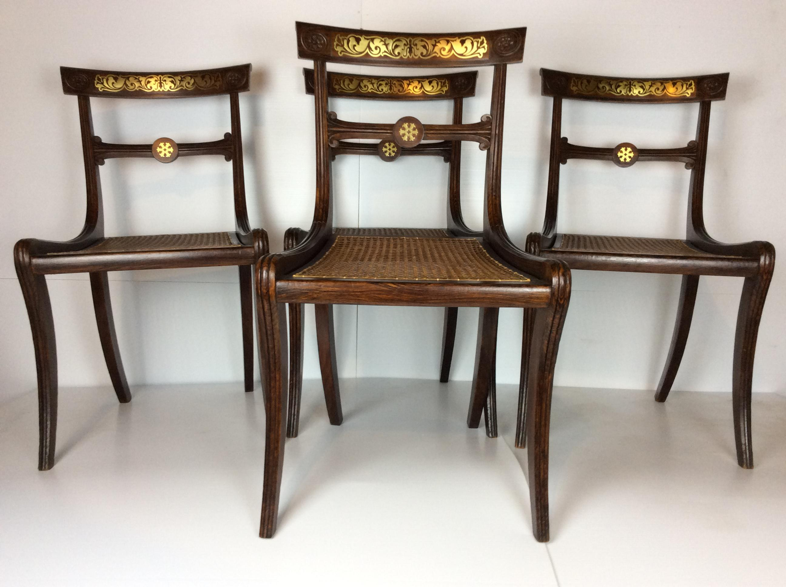 English 19th Century Regency Faux Grain Painted Chairs   Set Of 4   Image 2  Of