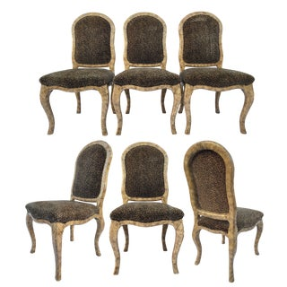 Leopard Print Art Deco Dining Chairs - Set of 6