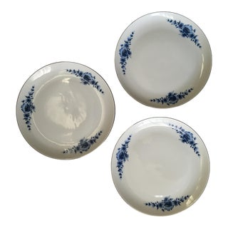 Vintage Danish Patterned Blue Plates- Set of 3