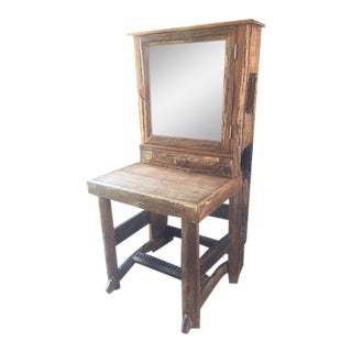 Unique Solid Oak Side Table Piece With Mirror - Vanity