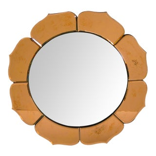 French Art Deco Convex Mirror with Peach Colored Mirrored Petals