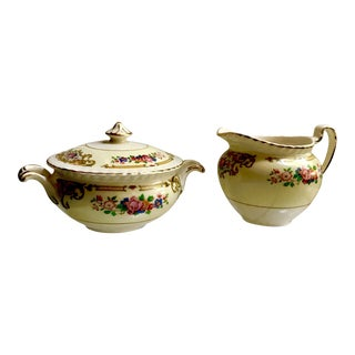 19th Century Edwardian Johnston Brothers Old English Sugar Bowl and Creamer - a Pair