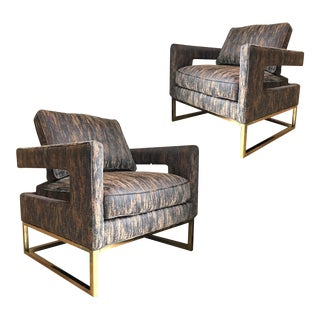 Milo Baughman Style Hollywood Regency Metal Framed Lounge Chairs - A Pair