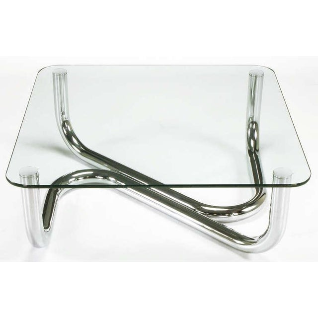 Sinuous Chrome and Glass Coffee Table - Image 2 of 7