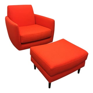 Parlour Atomic Orange Chair & Ottoman