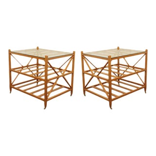 Oak Glass Top Side Tables - A Pair