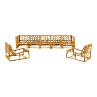 Exceptional Restored Vintage Rattan and Mahogany Nine-Piece Seating Set
