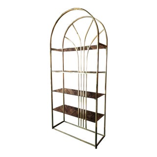 1970's Vintage Brass Etagere with Smoked Glass Shelves