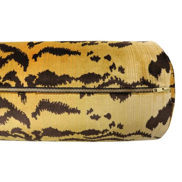 """48"""" Scalamandre Le Tigre Silk Velvet Bolster - Image 4 of 4"""