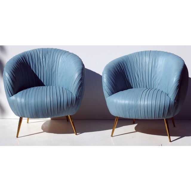Italian Leather Lounge Chairs - A Pair - Image 2 of 7