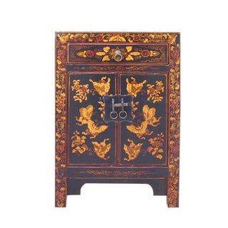 Chinese Black Base Golden Graphic End Table Nightstand