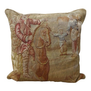 19th C. Antique Couple on Horseback Tapestry Pillow