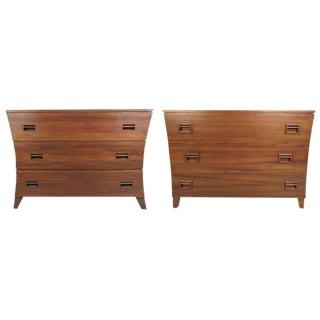 Danish Modern Sculptural Teak Dressers - A Pair