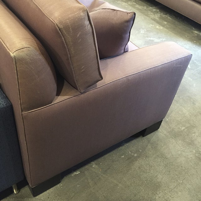 Custom Mauve Linen Designer Sofa with Pillows - Image 4 of 11