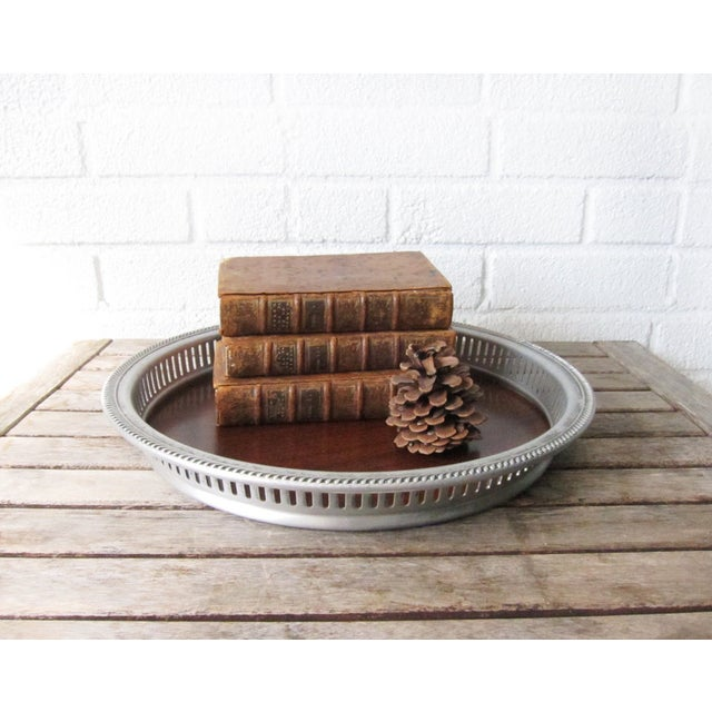 Image of Vintage Faux Wood and Silver Aluminum Bar Tray