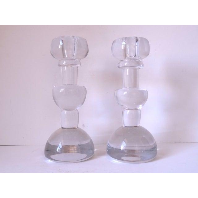 Scandinavian Glass Candle Sticks - A Pair - Image 2 of 7