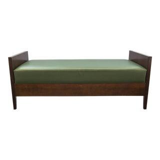 Custom Mahogany & Naugahyde Bench