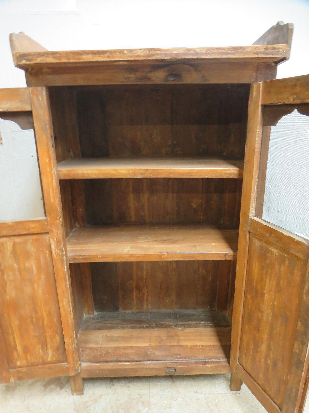 Antique Primitive China Cabinet Cupboard   Image 6 Of 8