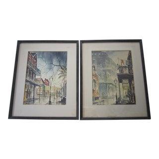 Vintage New Orleans Watercolor Paintings - Pair
