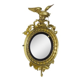 Classical Giltwood Girandole Mirror with Carved Eagle