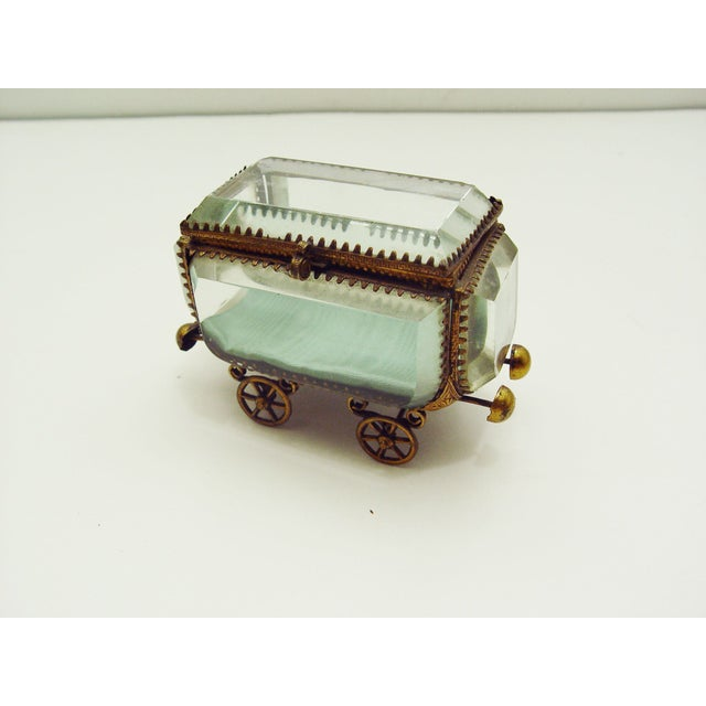 Vintage French Bevel Glass & Ormolu Carriage Box - Image 2 of 5
