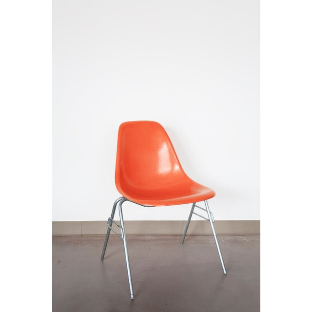 orange eames shell chairs a pair chairish. Black Bedroom Furniture Sets. Home Design Ideas