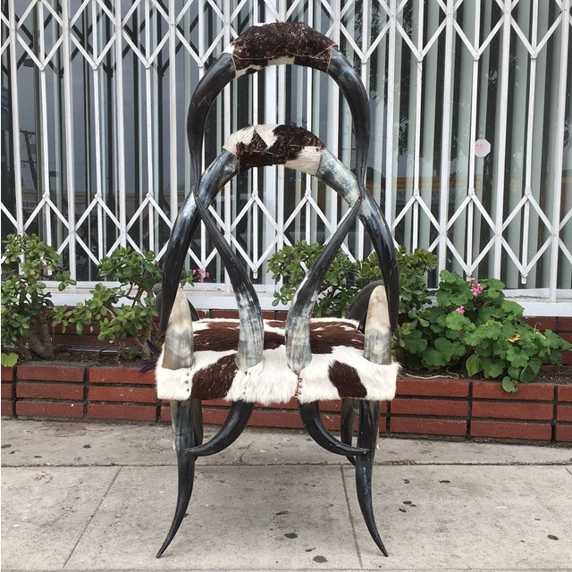 Rare Vintage Cowhide Horn Chair - Image 4 of 4