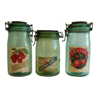 1930s French Canning Preserve Glass Jars- Set of 3